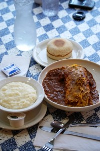The works - Wilbur, English Muffin and Grits. Rib sticking breakfast or lunch