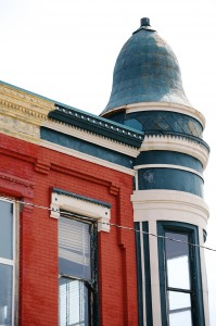 Corner Tower on building in What Cheer, IA