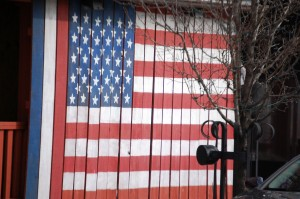 Wooden Flag in Le Claire, IA