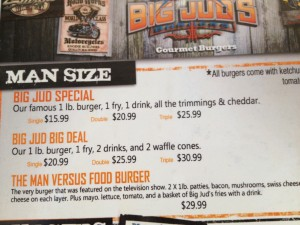Big Burger Menu at Jud's