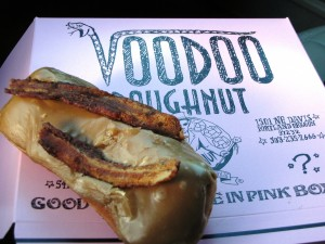 Bacon Maple Bar - Raised yeast doughnut with maple frosting and bacon on top! Out of this world yummiferous!
