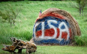 Patriotic Hay Bale at Rooster Tales
