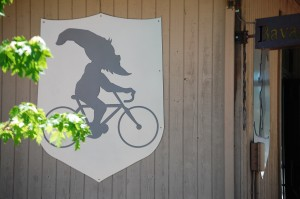 Gnome on a Bike - loved this graphic on a bike shop in Ketchum