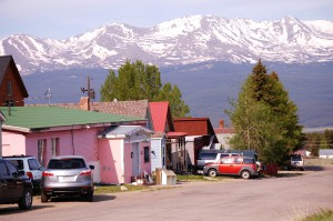 Colorful homes and scenic mountains in Leadville, CO
