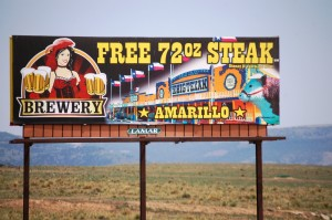 Free 72 OZ Steak sign in Raton (the place is in Amarillo, Texas!!)