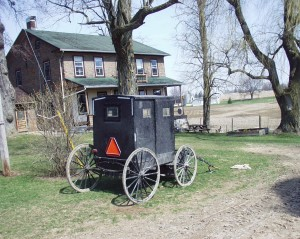 Amish cart in front of house in Oxford County, Ontario