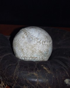 Old baseball and mitt in Beachville Museum