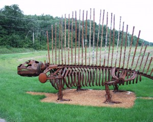 Scrap Metal Dinosaur - work done by Wally Keller - near Mt. Horeb, Wisconsin