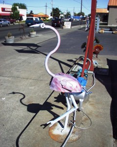 Scrap Metal Pink Flamingo at Melody Muffler in Walla Walla, Washington