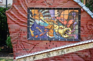 Interesting Jazz-themed mosaic sculpture in the small park next to the Fischer Theater