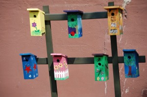Colorful Birdhouses in a park next door to the Fischer Theater