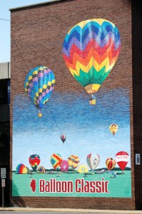 Colorful mural depicting Balloon Classic