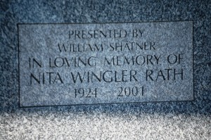 William Shatner presented a bench in memory of Nita Wingler Rath, a well known resident of Riverside