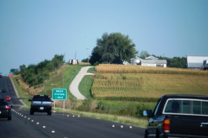 South on I-29 past cornfields and farmland of NW Missouri