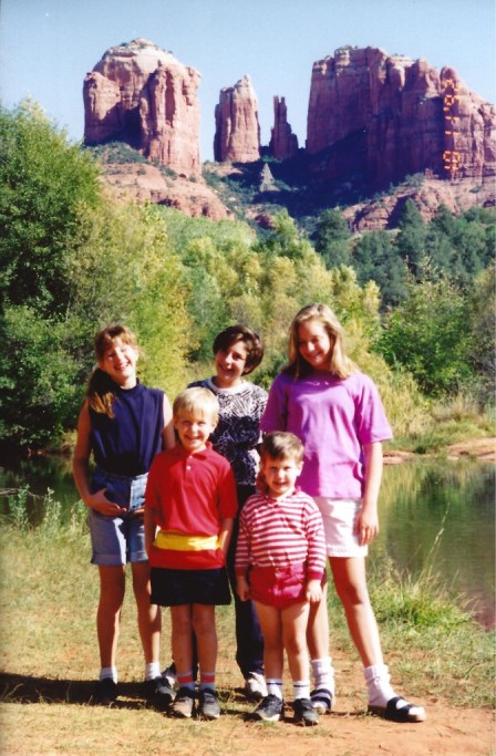 Kravetz Kids at Cathedral Rock on Oak Creek in Sedona, Arizona Oct. 1992