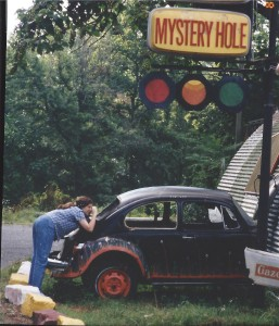 Marissa taking photos at the Mystery Hole in Ansted, WV - Aug 1995