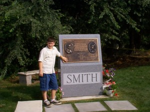 Solomon at the memorial to Joseph and Hyrum Smith in Carthage, IL