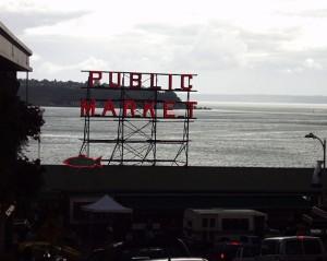 The famous Public Market sign in Seattle, Washington