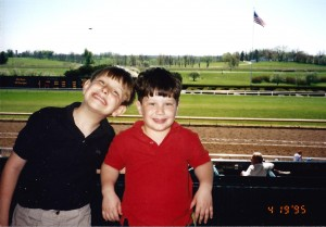 Seth and Solomon learn about one of Kentucky's big attractions - Horse Racing at Keeneland in April 1995