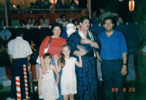With family at a festival in Oita, Japan in Feb 1988