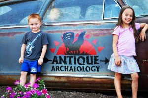 Joselyn and Landen at Antique Archaeology, home of American Pickers TV Show in LeClaire, IA - Sept. 2013