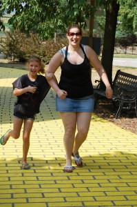 Chelsea and Autumn follow the Yellow Brick Road at Curtis Orchards in Champagne, IL - Aug 2012