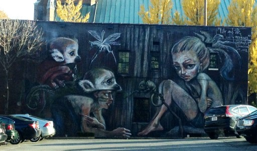 Lily and the Silly Monkeys by Herakut - Downtown Lexington