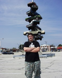 "Solomon and ""Spindle"" by Dustin Shuler, originally at Cermak Plaza in Berwyn, IL. Taken Sept 2007."