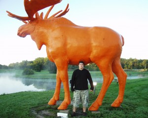 Solomon with a Big Orange Moose in Black River Falls, WI Sept 2007