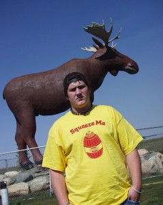 Solomon visits with the World's Largest Moose Statue in Moose Jaw, Saskatchewan Sept 2007