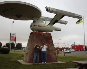 Sol and Sumoflam live long and prosper with the Starship Enterprise in Vulcan, Alberta Sept 2007