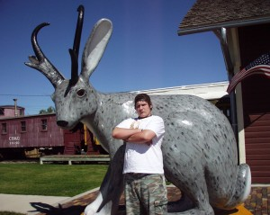 "Solomon with a giant jackalope in Douglas, Wyoming, the ""Jackalope Capital of the World"" - Sept 2007"