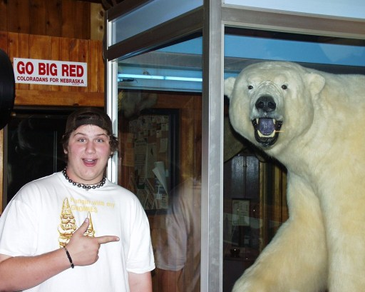 Solomon and his new friend at Ole's Big Game Steakhouse in Paxton, NE - Sept 2007