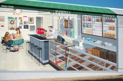 Schimpff's Candy Store - one of 12 floodwall murals by Louisiana artist Robert Dafford