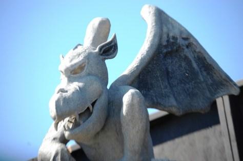 Gargoyle on fence at Industrial Terrorplex in Jeffersonville, IN