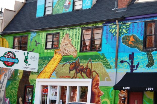 Front entry of Artist and Craftsman Supply store in Louisville with amazing mural artwork