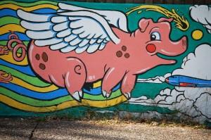 Flying Pig in Noah Church's mural in Louisville