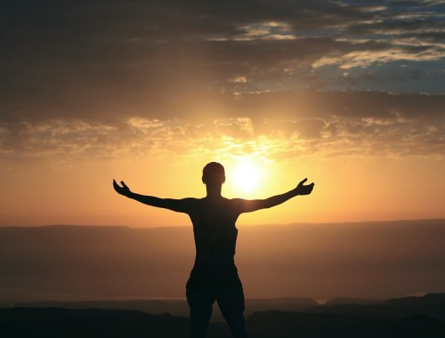 prise de conscience, silhouette se détachant du ciel