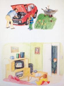 illustration d'un cliché familial courant : papa en cuisine, maman sollicitée