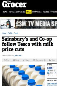 Milk prices down