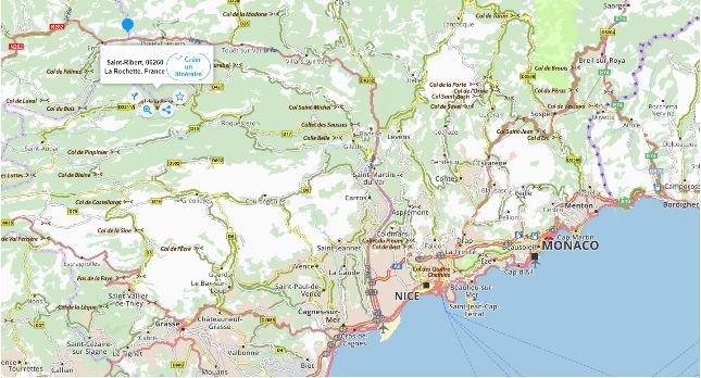 localisation sur carte routière