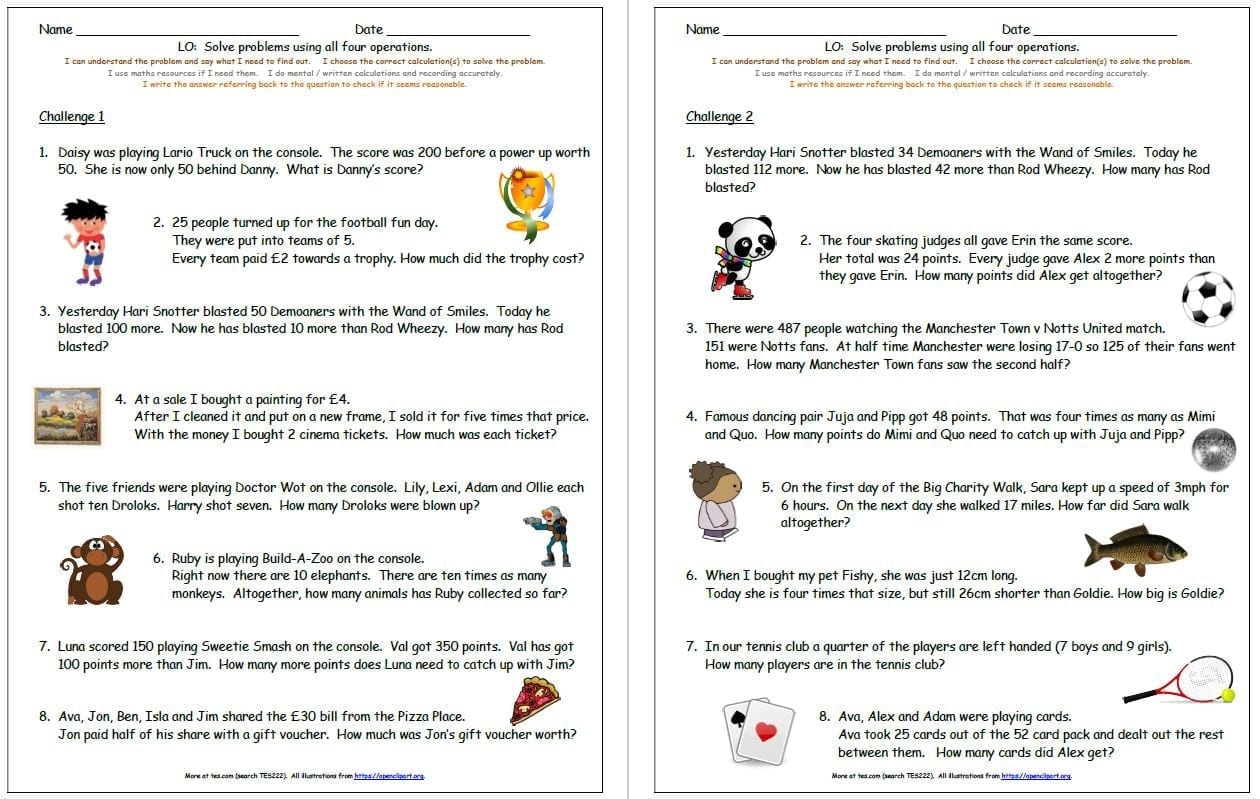 Ks2 Y3 Y4 Over 100 Differentiated Word Problems Mixed