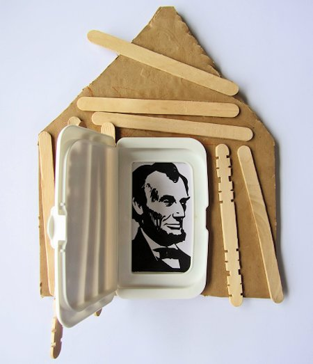 Log Cabin Craft for President's Day
