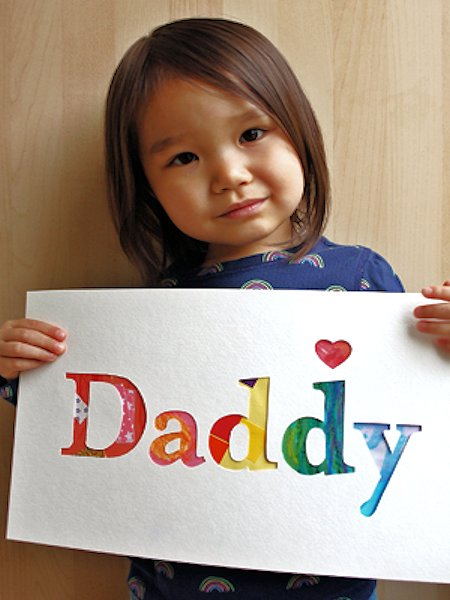 Recycled Art Work Daddy Sign