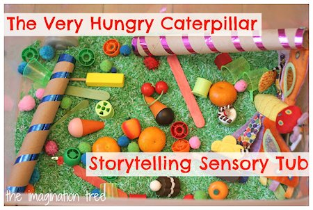 The Very Hungry Caterpillar sensory bin