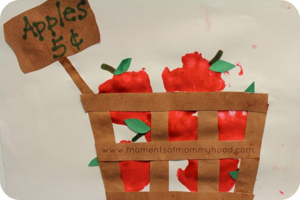Hand Print Apples in a Basket