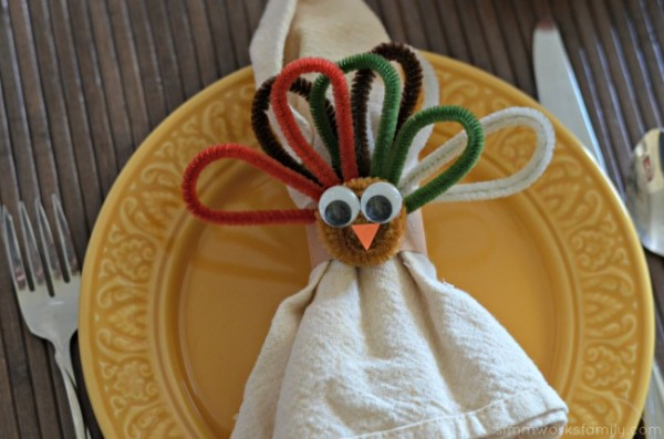 Chenille Stems Turkey Napkin Rings