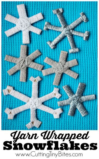 Yarn Wrapped Snowflakes