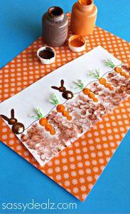 Fingerprint Carrot and Bunny Craft for Kids