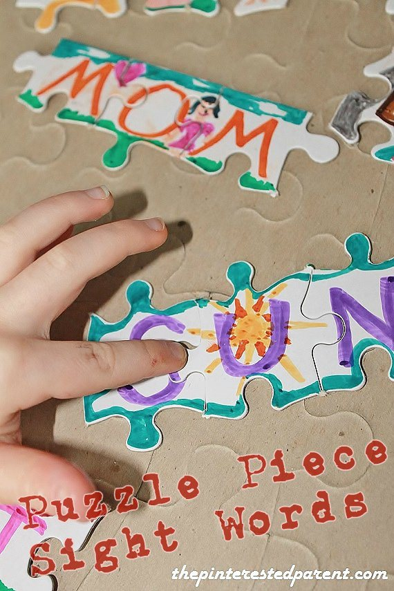 Puzzle Pieces For Teaching Sight Words